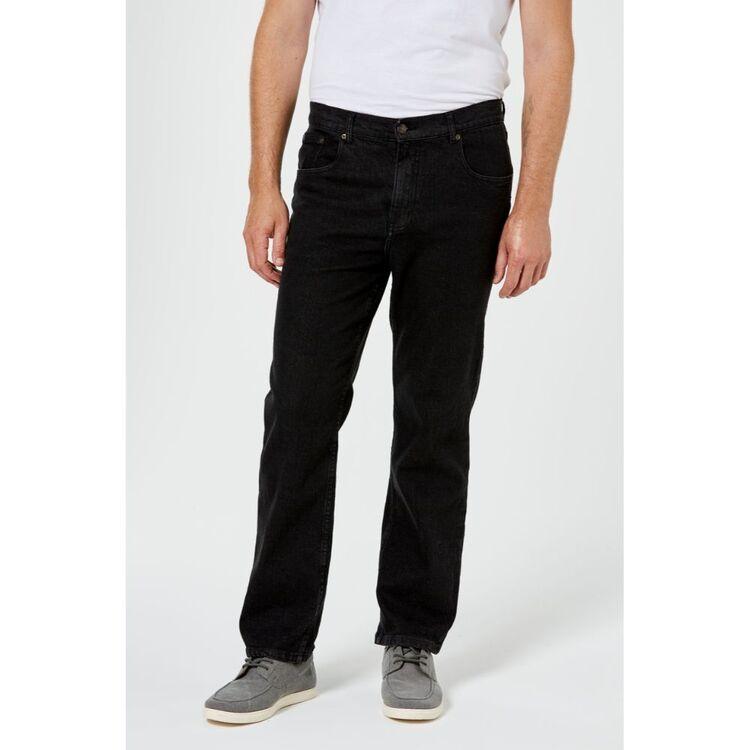 AMCO Men's Regular Leg Stretch Black Denim Jeans