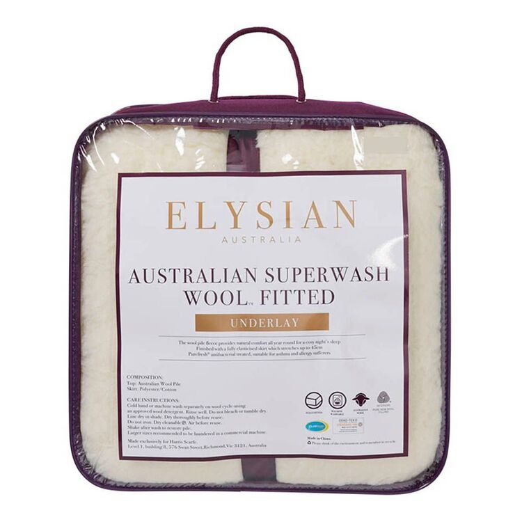 ELYSIAN 450gsm Australian Washable Wool Underlay King Bed