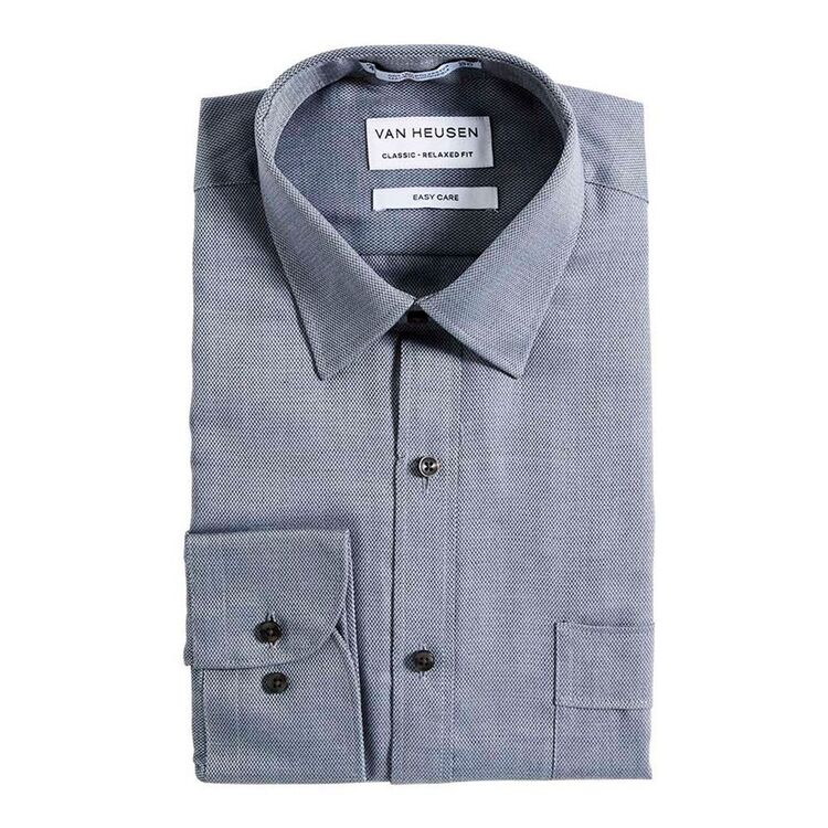 VAN HEUSEN Mens Nailhead Long Sleeve Business Shirt