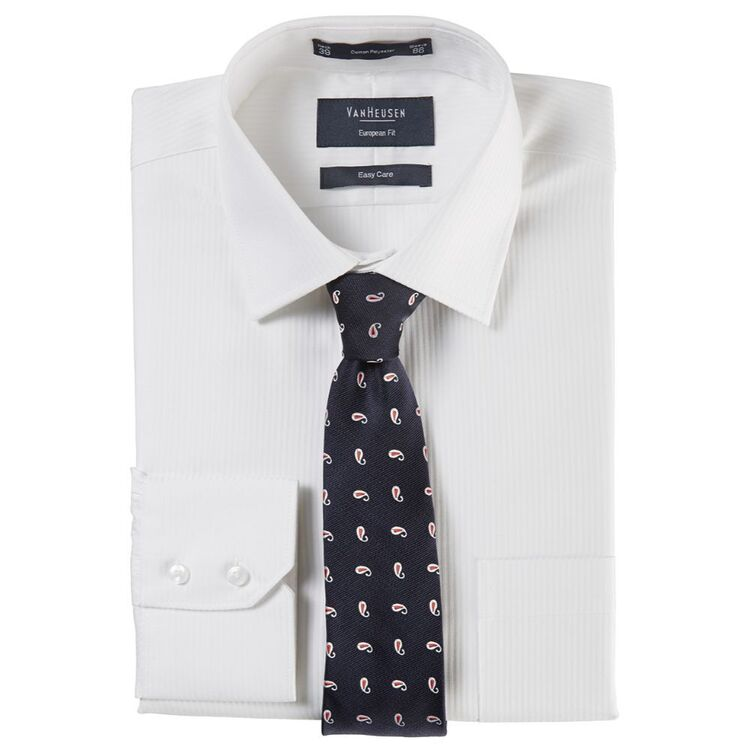 VAN HEUSEN Mens Euro Fit Self Stripe Business Shirt