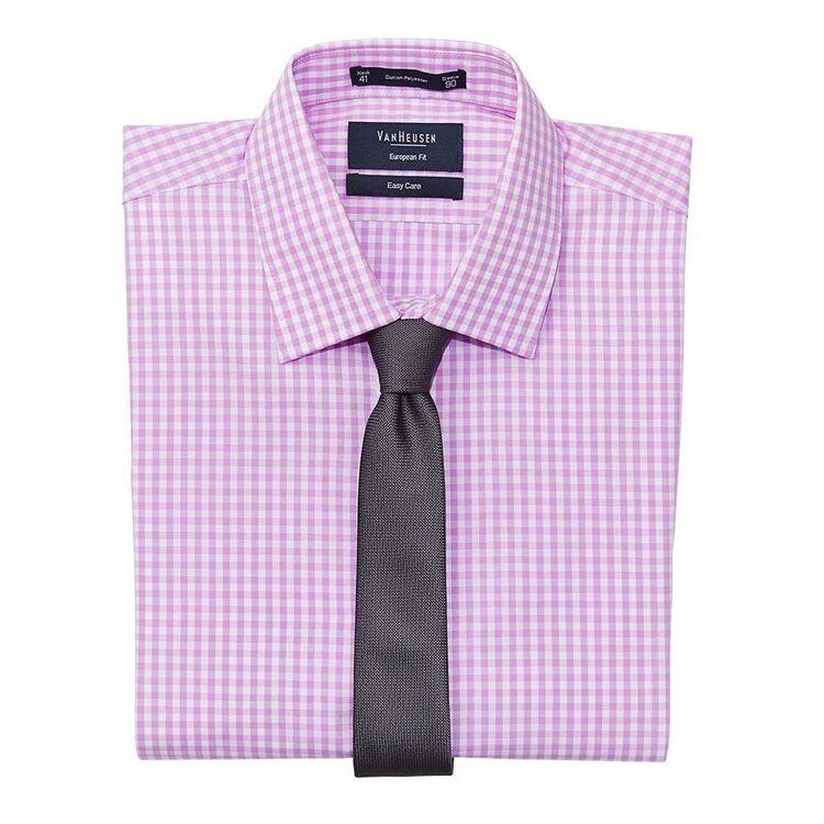 VAN HEUSEN Mens Check European Fit Business Shirt