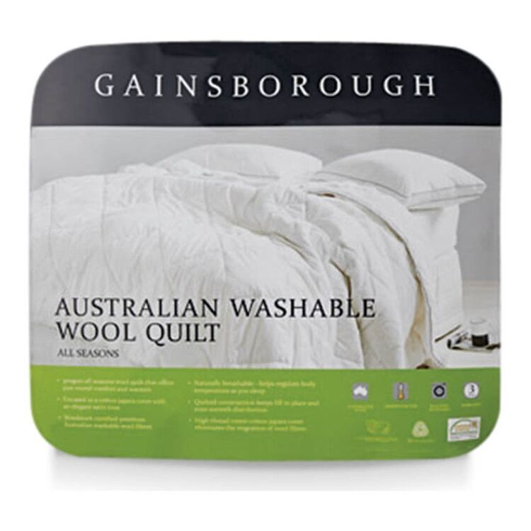 GAINSBOROUGH 300GSM AUSTRALIAN WASHABLE WOOL QUILT Double Bed