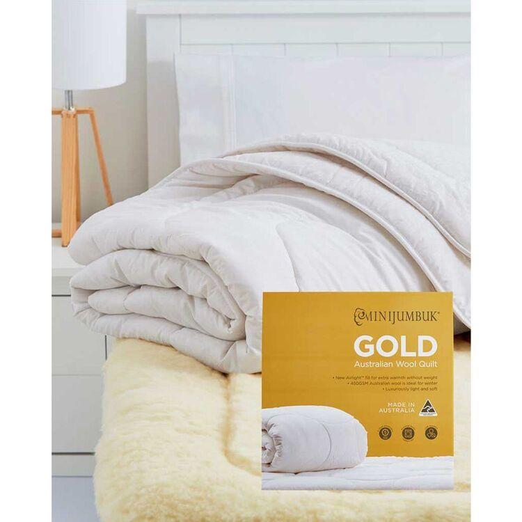 MINI JUMBUK Gold 450gsm Australian Wool Quilt Single Bed