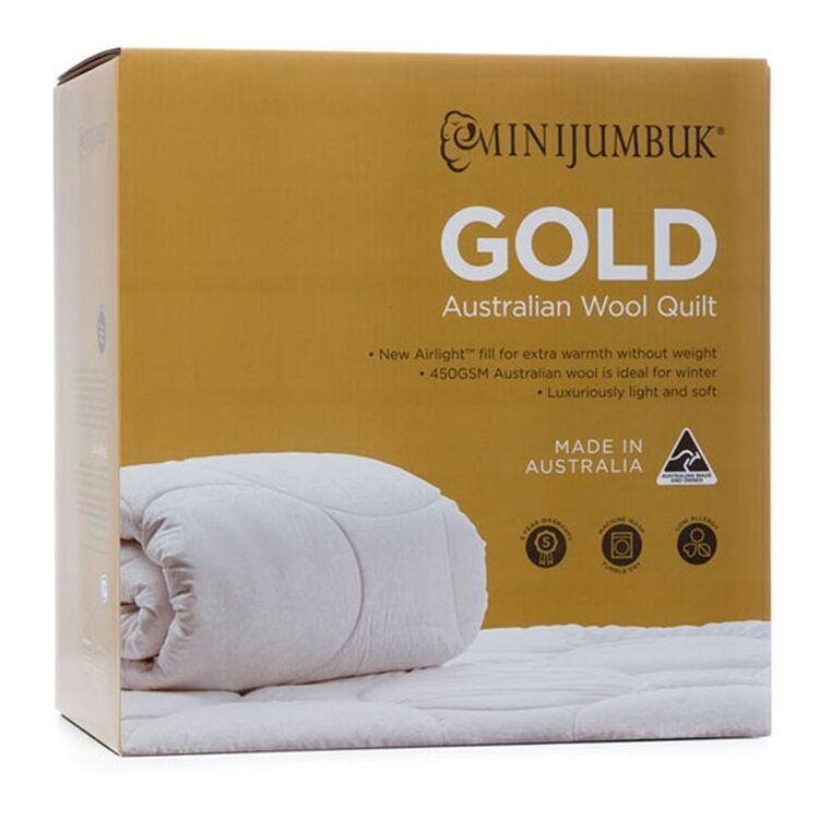 MINI JUMBUK Gold 450gsm Australian Wool Quilt QueenBed