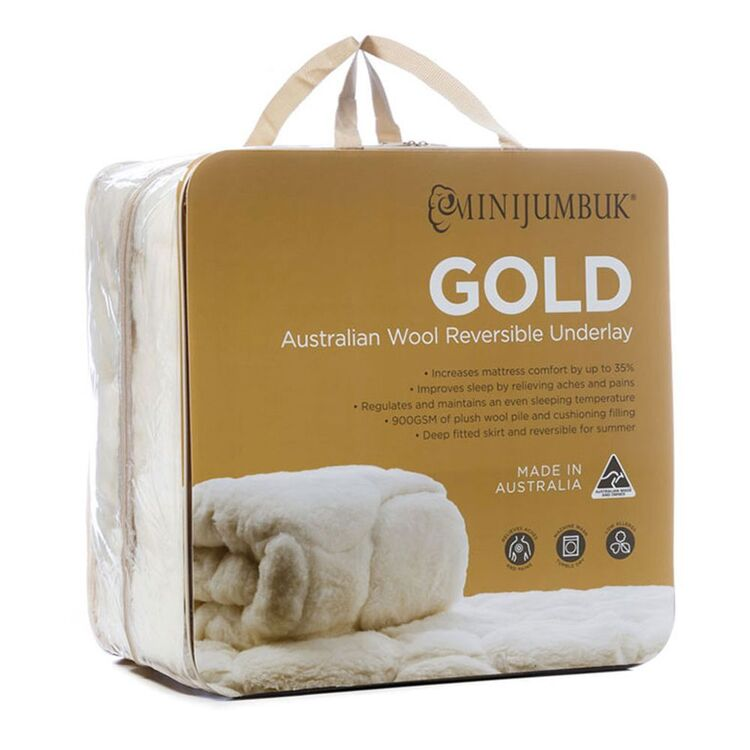MINI JUMBUK Gold 900gsm Wool Underlay Queen Bed