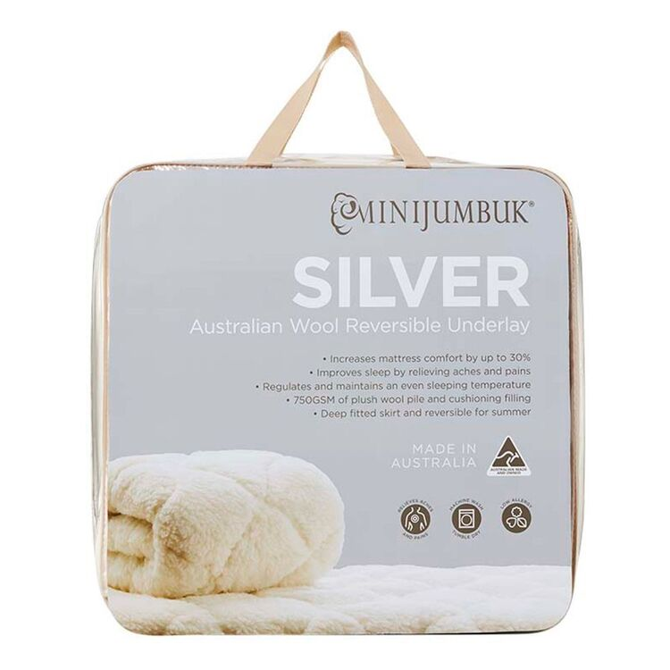 MINI JUMBUK Silver 750gsm Australian Wool Underlay Queen Bed