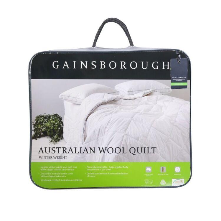 GAINSBOROUGH 500gsm Australian Winter Weight Wool Quilt Super King Bed
