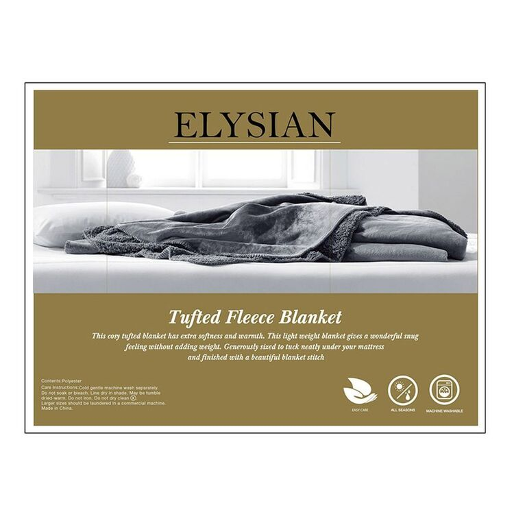 ELYSIAN Tufted Fleece Blanket Single Bed