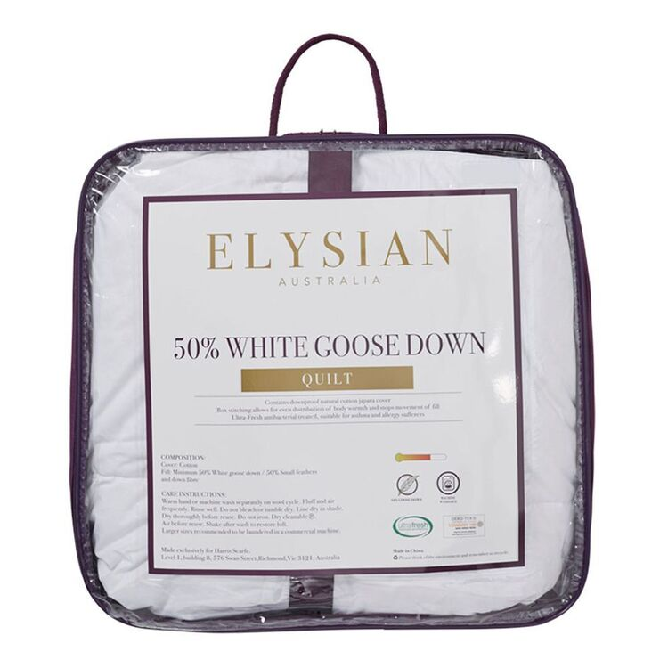 ELYSIAN 50/50 Goose Down And Feather Quilt Queen Bed