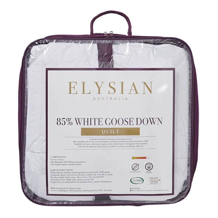 ELYSIAN 85/15 White Goose Down <(>&<)> Feather Quilt Qb