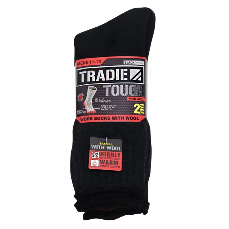 TRADIE BLACK 2pk Wool Work Sock