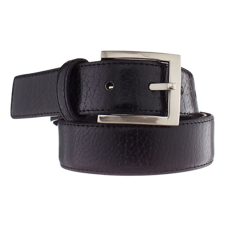 BRONSON CASUAL Textured Leather Belt with Stitching 32mm