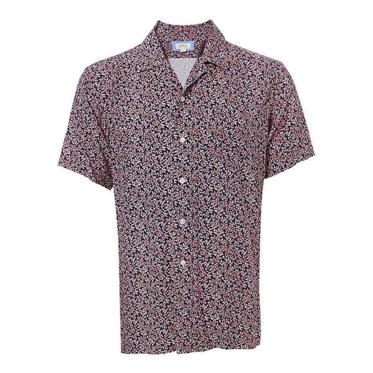 JC LANYON Mens Short Sleeve Print Rayon Shirt