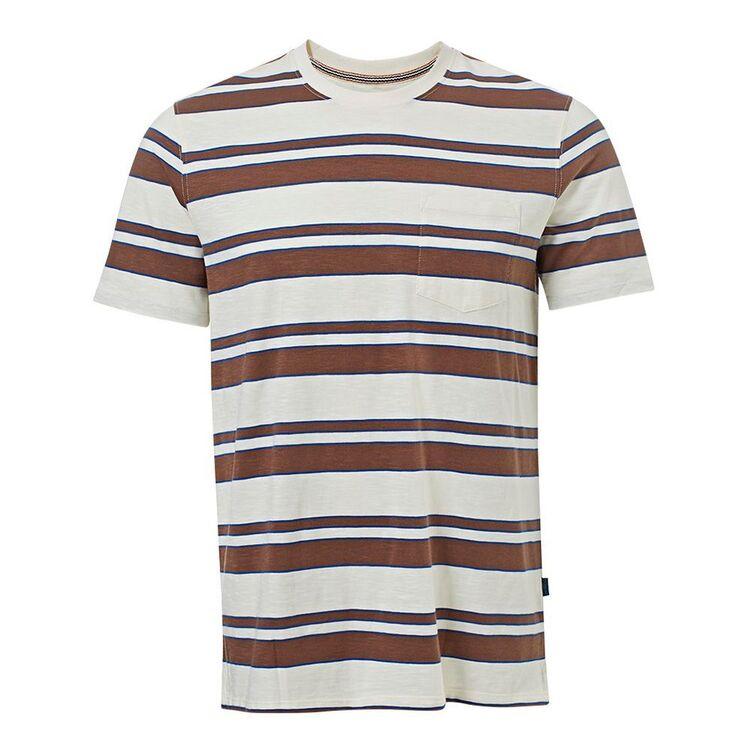 JC LANYON Mens Slub Cotton Stripe Tee With Pocket