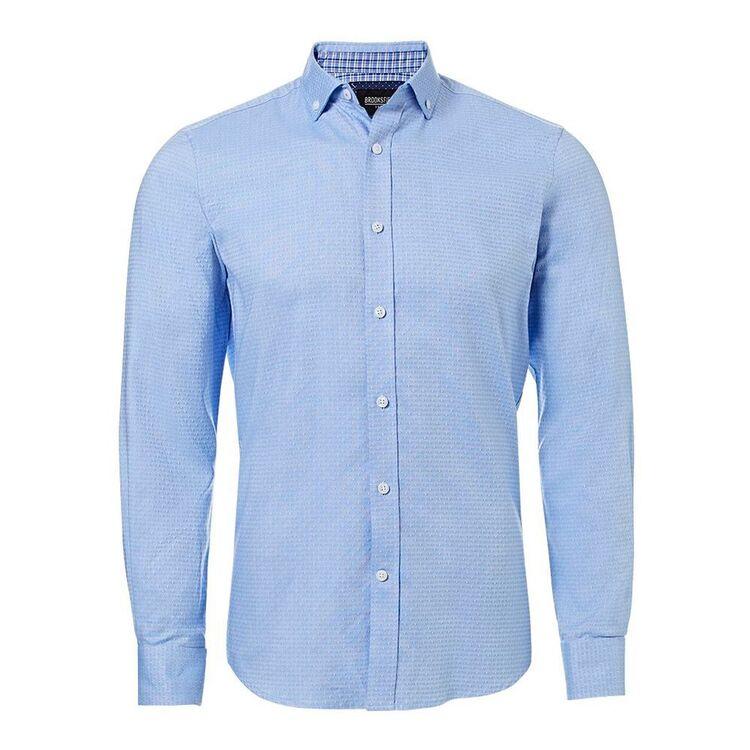 BROOKSFIELD Mens Luxe Long Sleeve Tonal Dot Dobby Shirt