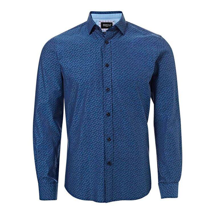 BROOKSFIELD Mens Luxe Long Sleeve Flower Jacquard Shirt