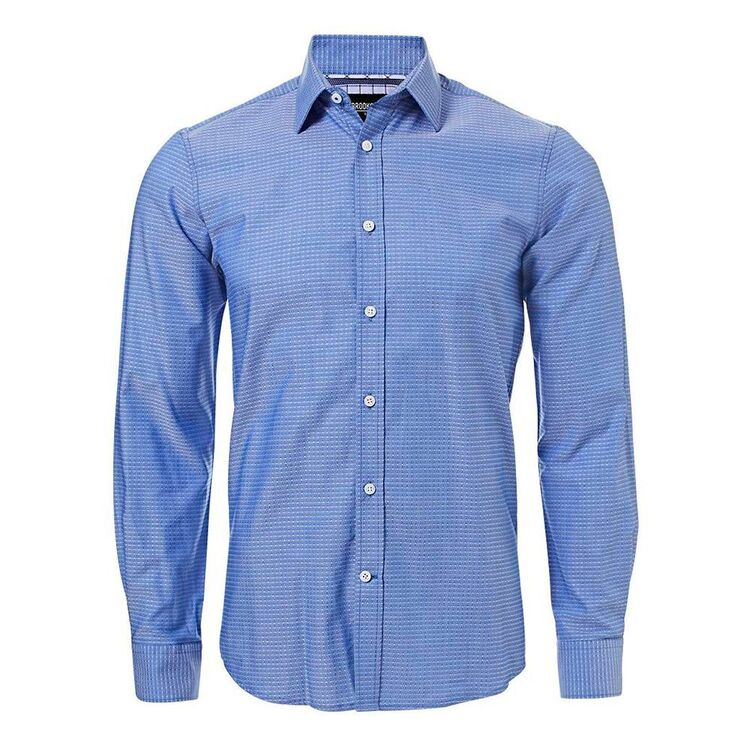BROOKSFIELD Mens Luxe Long Sleeve Intricate Dobby Shirt