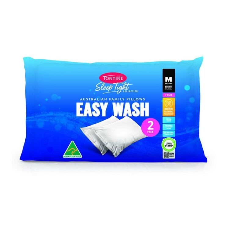 TONTINE Sleeptight Easy Wash Medium 2pk Pillow