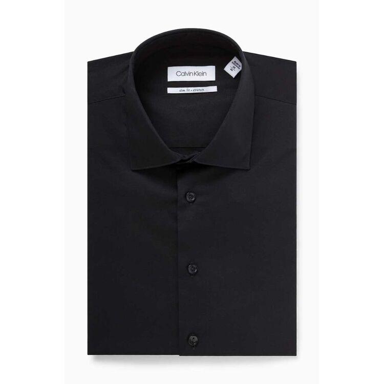 CALVIN KLEIN Mens Long Sleeve Stretch Black Busines Shirt