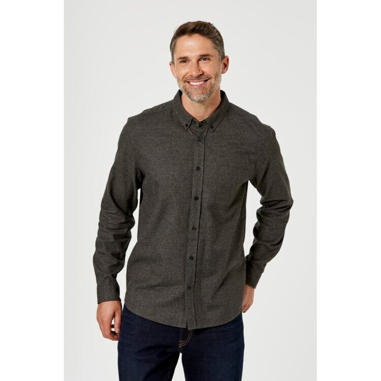 BRONSON CASUAL MENS EASTWOOD MARLE BRUSHED COTTON SHIRT