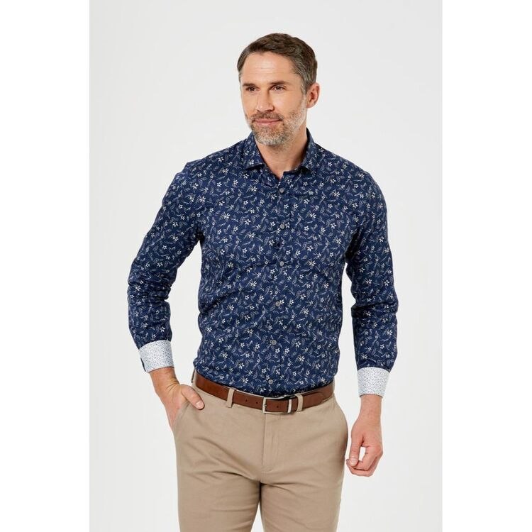 BROOKSFIELD Floral Print Luxe Business Shirt