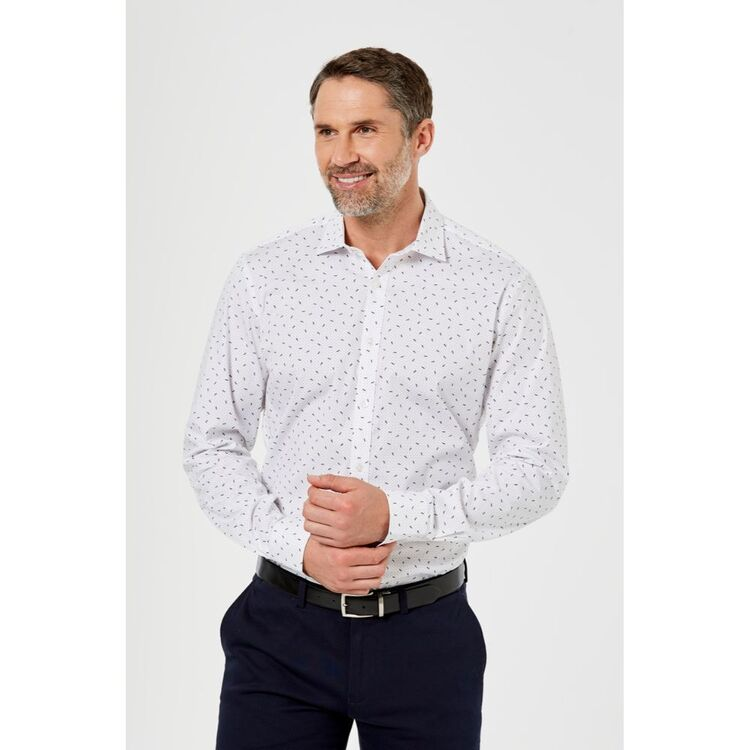 BROOKSFIELD Abstract Leaf Stretch Career Business Shirt