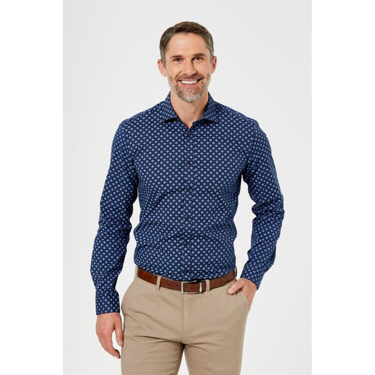 BROOKSFIELD Motif Print Stretch Career Business Shirt