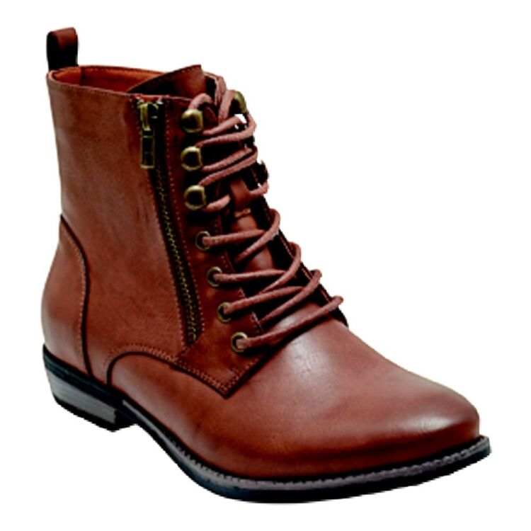 ISABELLA BROWN KANDY WOMENS ANKLE LACE UP BOOT WITH SIDE ZIP