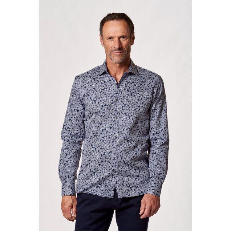 BROOKSFIELD Long Sleeve Abstract Flower Print Luxe Shirt