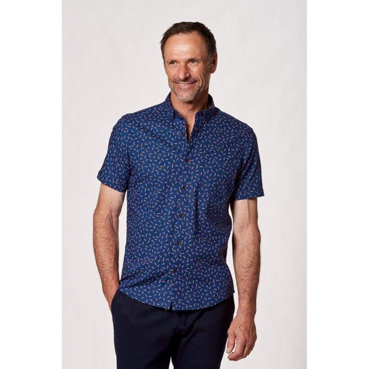 BROOKSFIELD Lightening Print Short Sleeve Casual Shirt