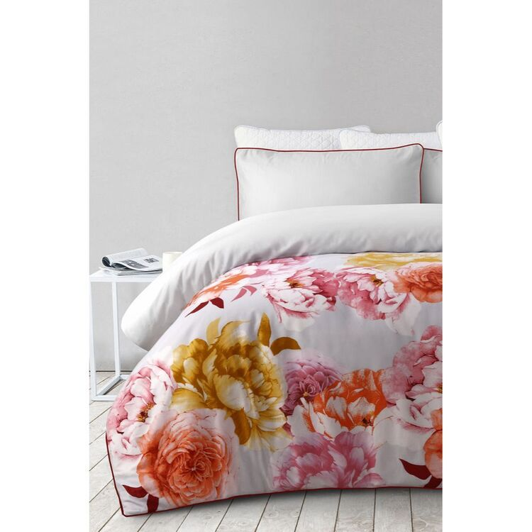 SHAYNNA BLAZE COMO FLOWER 300 THREAD COUNT COTTON QUILT COVER SET SUPER KING BED