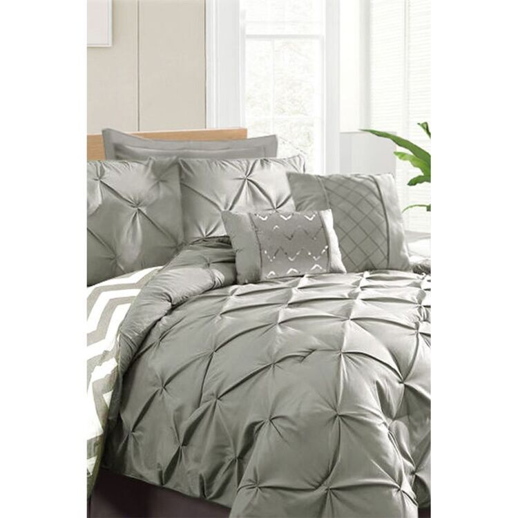 RAMESSES 7PC PINCH PLEAT COMFORTER SET KING BED