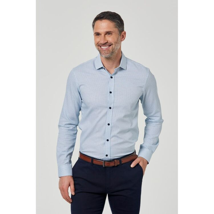 BROOKSFIELD LUXE TEXTURED FLOATING DOBBY COTTON WEAVE BUSINESS SHIRT