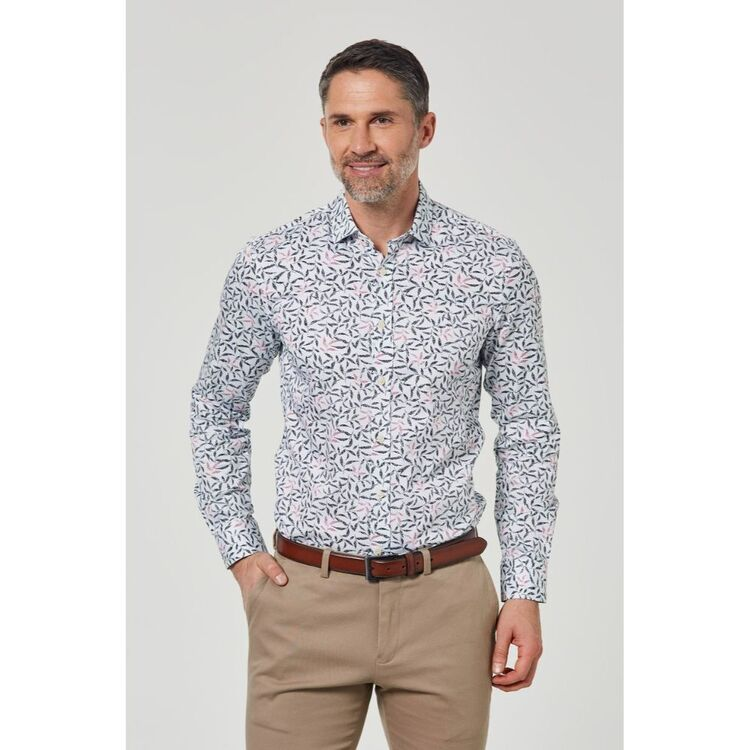 BROOKSFIELD LUXE GEO LEAF PRINT COTTON BUSINESS SHIRT