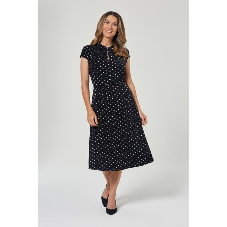 JANE LAMERTON SPOTTED A LINE DRESS  WITH BELT