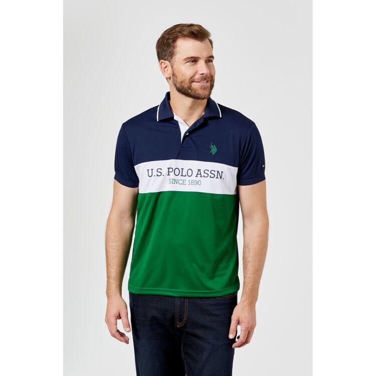 Us Polo Assn U.S. POLO ASSN. ACTIVE MENS BLOCK BRANDING POLO