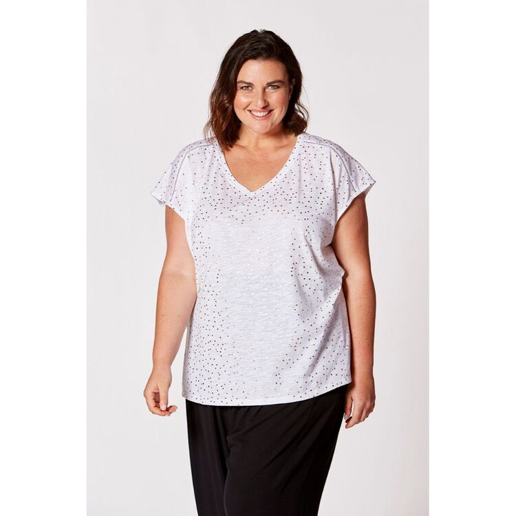 KHOKO PLUS FOIL PRINT TEE WITH LACE INSERT