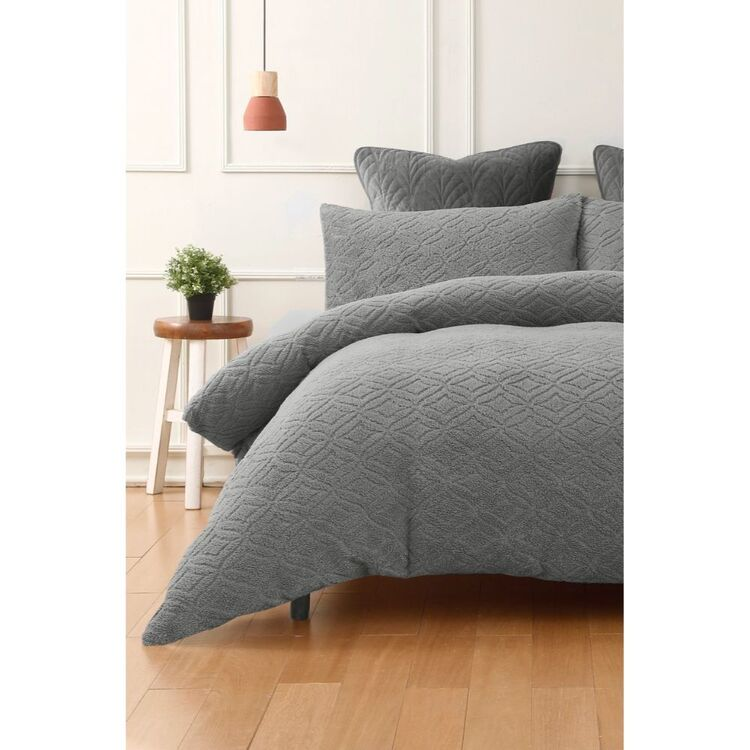 PHASE 2 STONYFELL EMBOSSED TEDDY FLEECE QUILT COVER SET QUEEN BED