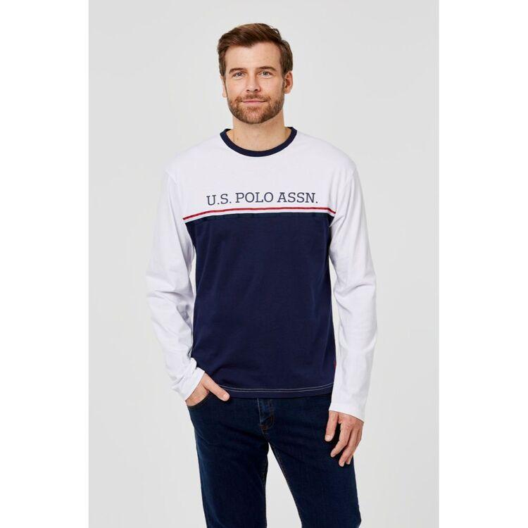 Us Polo Assn U.S. POLO ASSN. Long Sleeve Tee with Chest Stripe BrandLogo