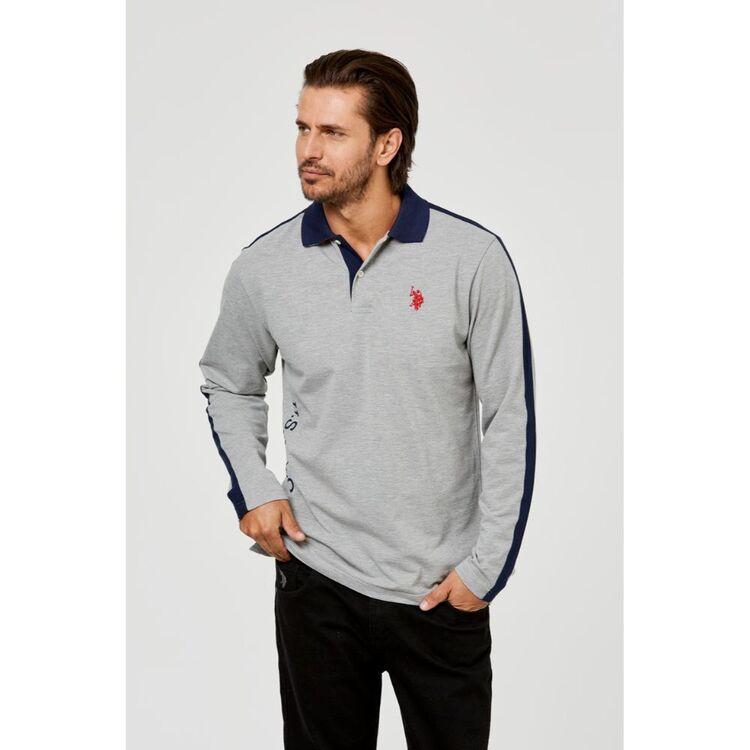 Us Polo Assn U.S. POLO ASSN. Long Sleeve Pique Polo/Rugby Side Embroidered Logo