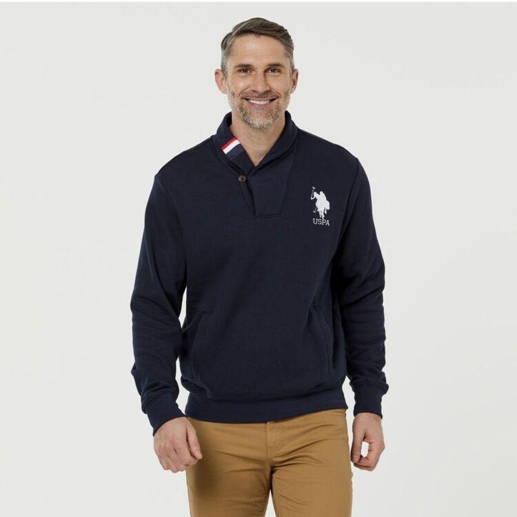 Us Polo Assn U.S. POLO ASSN. Shawl Neck Logo Fleece Top