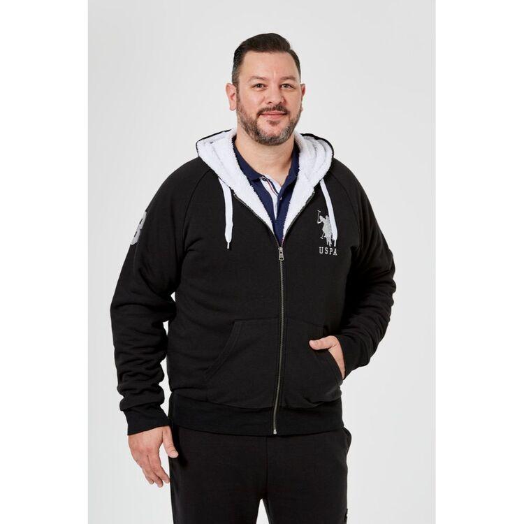 Us Polo Assn U.S. POLO ASSN. Big Mens NO. 3 Zip Thru Logo Hoody withSherpa Lining