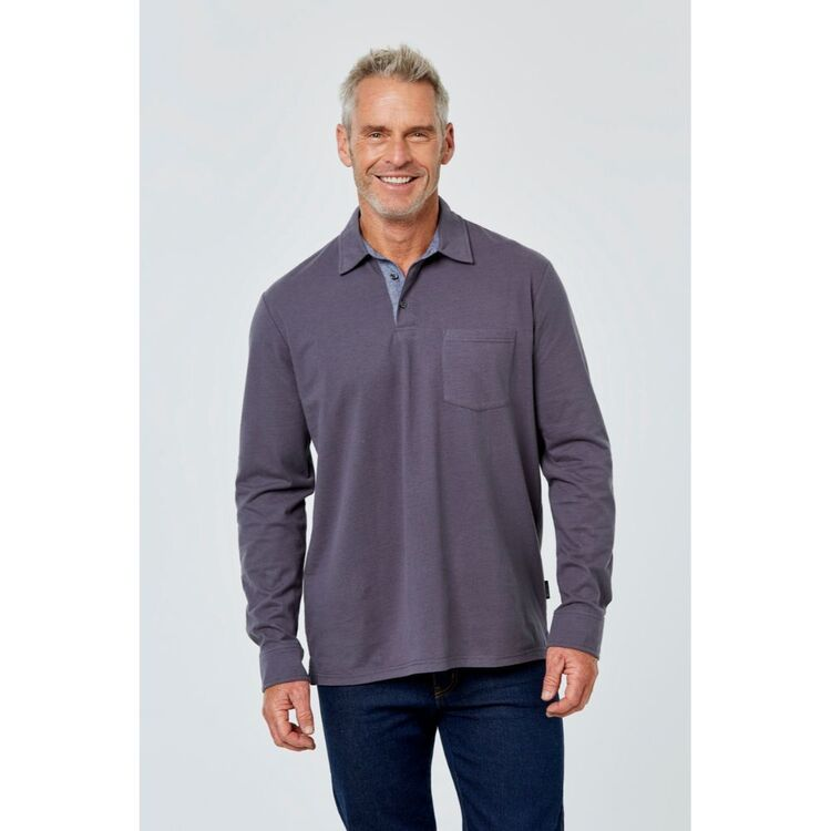 BRONSON CASUAL Long Sleeve Soft Touch Jersey Polo