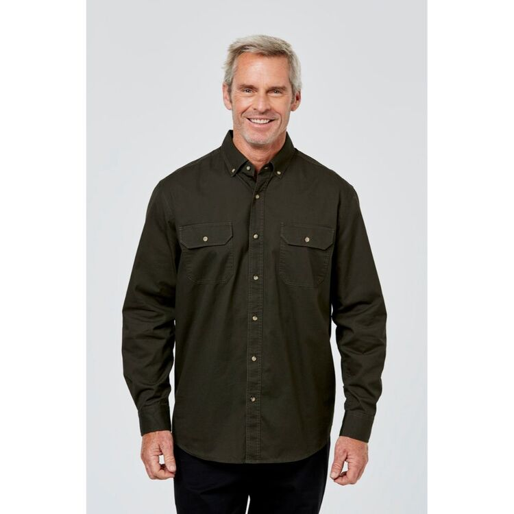 JC LANYON Cody Long Sleeve Cotton Twill Shirt with Double Pockets