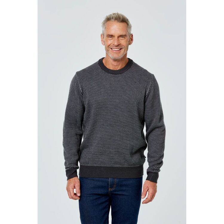 BRONSON CASUAL Rosny Contrast Textured Crew Neck Knit