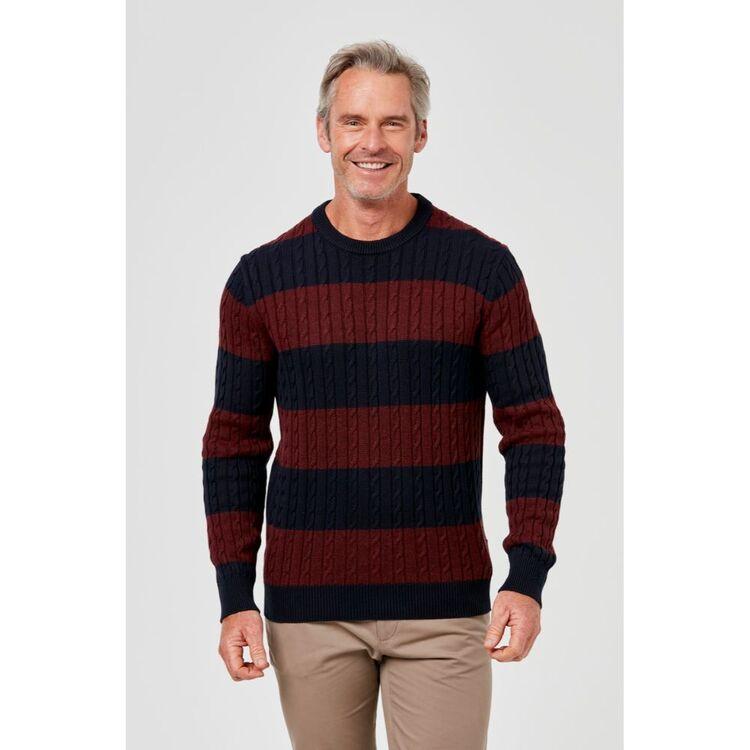 BRONSON CASUAL Boston Stripe Cotton Blend Cable Knit