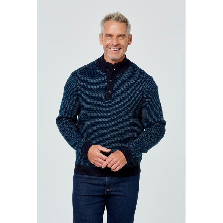 BRONSON CASUAL Fawkner Button Neck Textured Knit