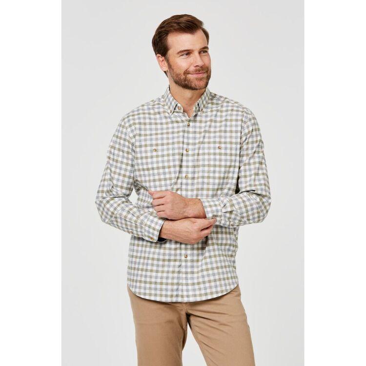 JC LANYON Toby Long Sleeve Brushed Cotton Shirt