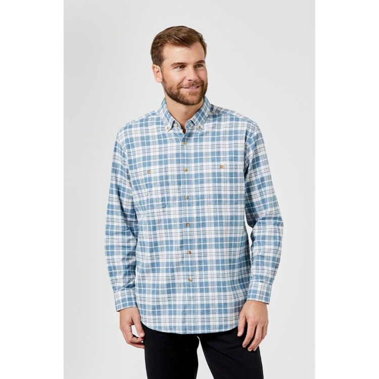 JC LANYON Boone Long Sleeve Brushed Cotton Shirt