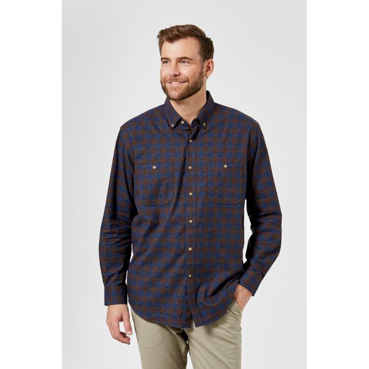 JC LANYON Kent Long Sleeve Brushed Cotton Shirt